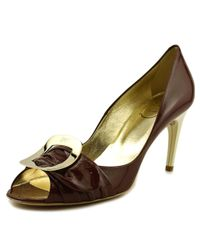 Roger Vivier - Red Spuntata Gigi T.85 Peep-toe Patent Leather Heels - Lyst
