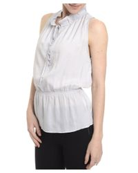 Romeo and Juliet Couture - Gray Sleeveless Ruffle Neck Top - Lyst
