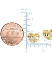 JewelryAffairs - Yellow 14k 2 Tone Gold Heart Shape Stud Earrings - Lyst