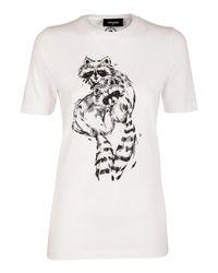 DSquared² - Women's White Cotton T-shirt - Lyst