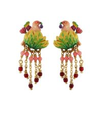 Les Nereides - Lovely Canaries Pink Bird On Its Leafy Branch And Charms Clip Earrings - Lyst