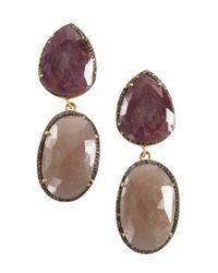 Vanhi - Gray Purple And Grey Sapphire Diamond Dangling Earrings - Lyst