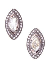 Socheec - White Marquise Rose Cut Diamond Stud Earrings - Lyst