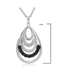 Amanda Rose Collection - Metallic Black And White Diamond Tear Drop Pendant-necklace In .925 Sterling Silver - Lyst