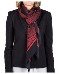 Roberto Cavalli | Red Women's Reptile Print Silk Scarf | Lyst