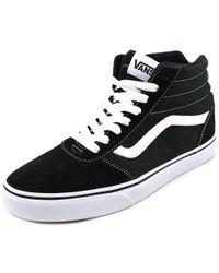 Lyst - Vans Ward Hi Round Toe Canvas Skate Shoe in Black for Men 458b364da