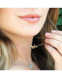 Olive Yew   Metallic Origami Silver Crane Necklace   Lyst