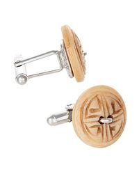 Jan Leslie - Natural Carved Wood Button Cufflinks for Men - Lyst