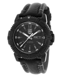 Luminox - Men's Modern Mariner 6500 Series Auto Black Genuine Leather And Dial for Men - Lyst