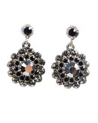 Otazu - Black Clear Swarovski Crystal Flower Drop Earring - Lyst