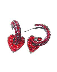 Otazu - Red Love Heart Swarovski Crystal Earrings - Lyst
