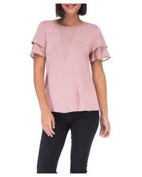 Bobeau - Pink Dylan Mixed Media Flutter Sleeve - Lyst