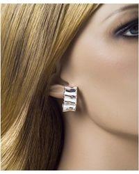 Jewelista - White Sterling Silver Small Ruffle Hoop Earrings - Lyst