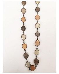 Blue Candy Jewelry   Gray Peach And Grey Moonstone Necklace   Lyst