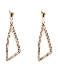 Peermont | Metallic Gold And White Swarovski Elements Open Triangle Earrings | Lyst