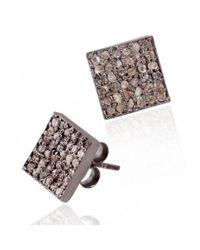 Barzel - Metallic Black Rhodium Plated Sterling Silver 0.55cttw Square White Diamond Stud Earrings - Lyst