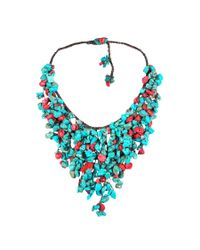 Aeravida | Red Handmade Reconstructed Coral And Reconstructed Turquoise Stone Waterfall Bib Necklace | Lyst