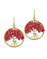 Aeravida   Metallic Eternal Tree Of Life Stone Branch Brass Dangle Earrings   Lyst