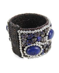 Aeravida - Blue Cotton Rope Mosaic Stone Brass Wire Adjustable Cuff - Lyst