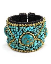 Aeravida   Multicolor Cotton Rope Mosaic Stone Brass Wire Adjustable Cuff   Lyst