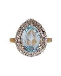 Vanhi - Blue Aquamarine & White Diamond Ring - Lyst
