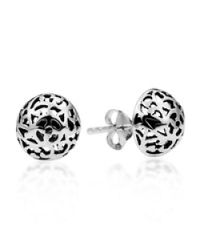 Aeravida - Metallic Filigree Swirl Dome Sterling Silver Post Earrings - Lyst