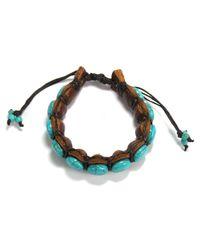 Aeravida - Blue Round Stones Leather Pull Slide Bracelet - Lyst