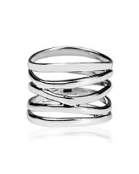 Aeravida | Gray Trendy Wide Five Band Coil Wrap Sterling Silver Ring | Lyst