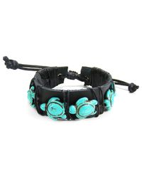 Aeravida | Black Swimming Turtles Stone Leather Pull Slide Bracelet | Lyst