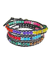Aeravida | Multicolor Triple Wrap Stone And Leather Fusion Bracelet | Lyst