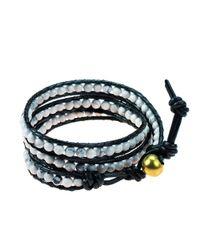Aeravida - White Triple Wrap Stone And Leather Fusion Bracelet - Lyst