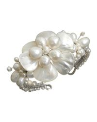 Aeravida | Metallic Fabulous Handmade White Shell Flower & Pearl Beaded Cuff | Lyst