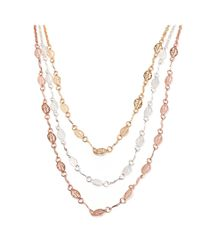 Peermont | Pink Gold & Rose Gold Leaf Triple Strand Necklace | Lyst