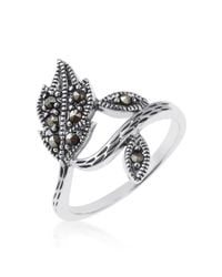Aeravida - Gray Dazzling Wrap Around Leaf-leaves Marcasite Sterling Silver Ring - Lyst
