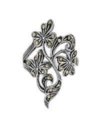 Aeravida   Gray Dazzling Wildflowers Marcasite Stone .925 Sterling Silver Ring   Lyst