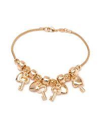 Peermont | Metallic Gold Heart & Key Charm Bracelet | Lyst