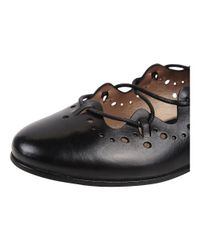 Progetto - Black Perforated Lace Up Flat - Lyst