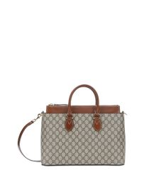 Gucci - Brown Beige And Ebony Gg Canvas Convertible Tote - Lyst