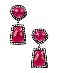 Vanhi - Red 48 Carat Ruby And White Topaz Earrings In Sterling Silver - Lyst