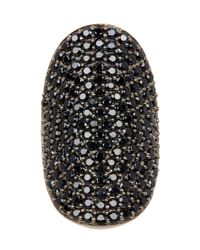 Adornia   Metallic Black Spinel And Sterling Silver Farrah Ring   Lyst