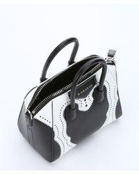 Givenchy | Black And White Calfskin Mini 'antigona' Convertible Tote | Lyst