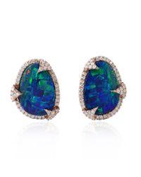 Socheec Blue Opal Stud Earring ZiHMh
