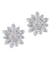 CZ by Kenneth Jay Lane | Metallic 3cttw Pave Cz Floral Stud Earring | Lyst