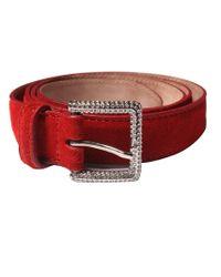 Dolce & Gabbana | Red Suede Rhinestone Buckle Fashion Belt | Lyst
