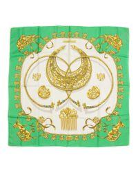 Hermès - Green Vintage Scarf Les Cavalier D'or - Lyst