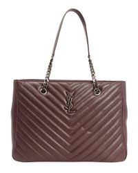 Saint Laurent | Brown Bordeaux Matelassã© Leather Large Monogram Shopping Tote | Lyst