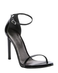 Stuart Weitzman | Black Patent Leather 'nudistsong' Ankle Strap Sandals | Lyst