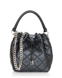 Stella McCartney | Black Qilted Falabella Bucket Bag | Lyst