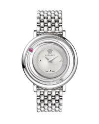 Versace   Metallic :venus Red Topaz White Dial Ss Bracelet Watch   Lyst