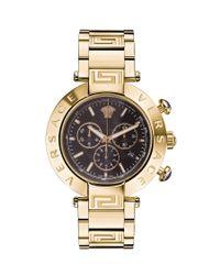 Versace | Metallic :reve Chrono 46mm Black Dial Ipyg Bracelet Watch | Lyst